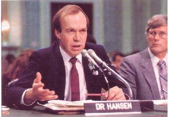 Hansen giving testimony before the US Congress in 1988